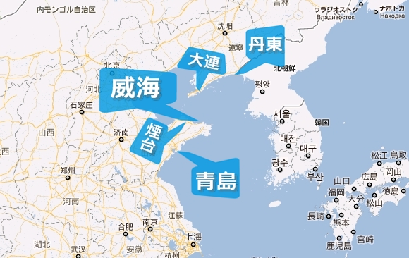 中国山東省威海市の場所